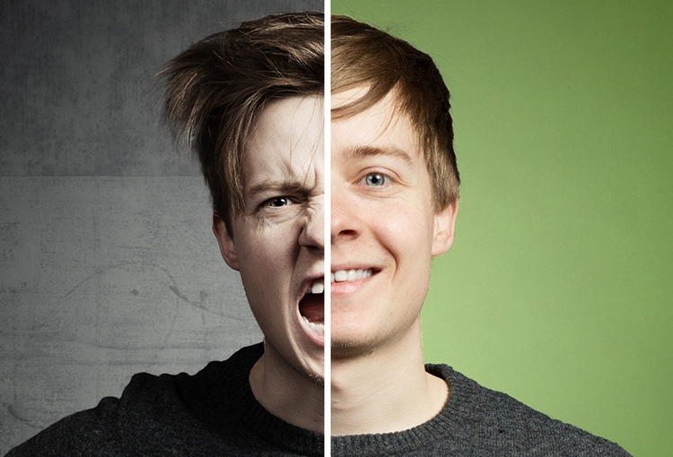 auf einer Seite des Bildes wird ein aggressiver Mann dargestellt, auf der anderen Seite ein freundlicher Mann.